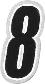 AMERICAN KARGO Gear Bag Number Patch #8 Eight (White/Black)