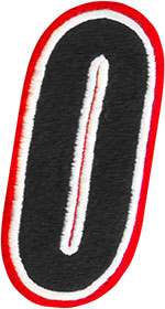 AMERICAN KARGO Gear Bag Number Patch #0 Zero (Red/Black)