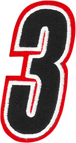 AMERICAN KARGO Gear Bag Number Patch #3 Three (Red/Black)