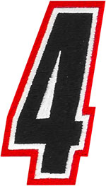 AMERICAN KARGO Gear Bag Number Patch #4 Four (Red/Black)