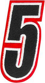 AMERICAN KARGO Gear Bag Number Patch #5 Five (Red/Black)
