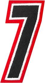 AMERICAN KARGO Gear Bag Number Patch #7 Seven (Red/Black)
