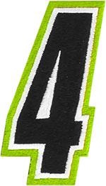 AMERICAN KARGO Gear Bag Number Patch #4 Four (Hi-Viz/Black)