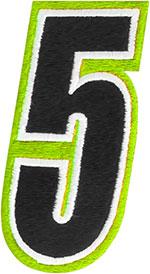 AMERICAN KARGO Gear Bag Number Patch #5 Five (Hi-Viz/Black)
