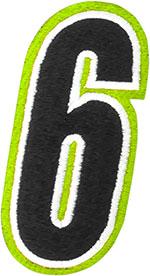 AMERICAN KARGO Gear Bag Number Patch #6 Six (Hi-Viz/Black)