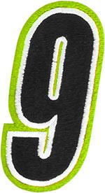 AMERICAN KARGO Gear Bag Number Patch #9 Nine (Hi-Viz/Black)
