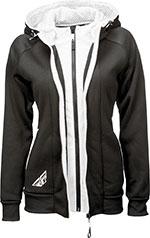 FLY Racing MX Motocross MTB BMX - Women's TRACK Zip-Up Hoodie Sweatshirt (Black/White)