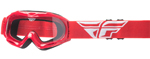 Fly Racing MX Motocross MTB BMX Kids FOCUS Goggles (Red w/ Clear Lens)