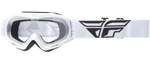 Fly Racing MX Motocross MTB BMX Kids FOCUS Goggles (White w/ Clear Lens)
