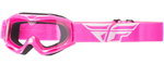 Fly Racing MX Motocross MTB BMX Kids FOCUS Goggles (Pink w/ Clear Lens)