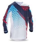 FLY RACING MX Motocross MTB BMX Kids 2017 Kinetic TRIFECTA Mesh Jersey (Red/White/Blue)