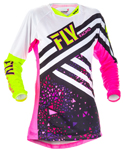 Fly Racing MX Motocross MTB BMX 2018 Girl's KINETIC Jersey (Neon Pink/Hi-Vis)