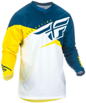 Fly Racing MX Motocross Boys Youth F-16 Jersey (Yellow/White/Navy)