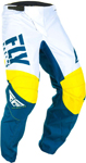 Fly Racing MX Motocross Boys Youth F-16 Pants (Yellow/White/Navy)
