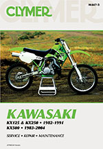 Clymer Repair Manual for Kawasaki KX125, KX250, 1982-1991, KX500, 1983-2004
