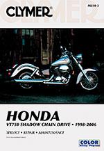 Clymer Repair Manual for Honda VT750 Shadow Chain Drive 1998-2006