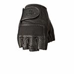 HIGHWAY 21 Men's HALF-JAB Perforated Leather Fingerless Riding Gloves (Black)