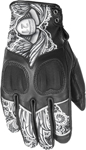 HIGHWAY 21 Ladies VIXEN Touchscreen Leather Riding Gloves (Black/White Lace)