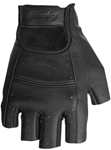 Highway 21 Women's RANGER Fingerless Leather Motorcycle Riding Gloves (Black)