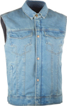 Highway 21 Men's IRON SIGHTS Denim Motorcycle Riding Vest w/Collar (Blue)