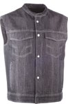 Highway 21 Men's IRON SIGHTS Denim Motorcycle Riding Vest w/Club Collar (Black)