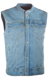 Highway 21 Men's IRON SIGHTS Denim Motorcycle Riding Vest w/Club Collar (Blue)