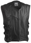 Highway 21 Men's BLOCKADE Perforated Leather Motorcycle Riding Vest (Black)