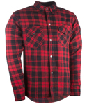 Highway 21 Men's MARKSMAN Flannel Motorcycle Riding Shirt w/Kevlar & Armor (Black/Red)