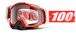 100% MX Motocross RACECRAFT Goggles (Fire Red w/ Anti-Fog Clear Lens)