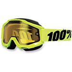 100% Snow Snowmobile ACCURI Goggles (Flourescent Yellow w/ Anti-Fog Dual Pane Yellow Lens)