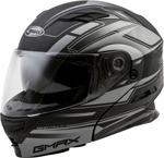 GMAX MD-01 STEALTH Modular Flip-Up Motorcycle Helmet w/Drop-Down Sun Visor (Matte Black/Silver)