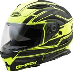 GMAX MD-01 STEALTH Modular Flip-Up Motorcycle Helmet w/Drop-Down Sun Visor (Gloss Black/Hi-Vis Yellow)