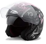 GMAX OF77 Open Face Helmet Butterflies (Flat Black/Pink)