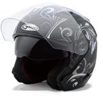 GMAX OF77 Open Face Helmet Butterflies (Flat Black/Purple)