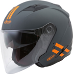 GMAX OF-77 DOWNEY Open-Face Motorcycle Helmet w/Drop-Down Sun Visor (Matte Grey/Orange)