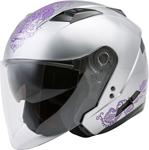 GMAX OF-77 ETERNAL Open-Face Motorcycle Helmet w/Drop-Down Sun Visor (Gloss Silver/Violet)