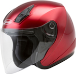 GMAX OF-17 Open-Face Motorcycle Helmet w/Drop-Down Sun Visor (Gloss Candy Red)