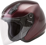 GMAX OF-17 Open-Face Motorcycle Helmet w/Drop-Down Sun Visor (Gloss Wine Red)