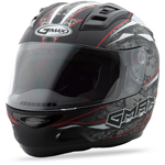 GMAX GM69 Full Face Street Helmet Mayhem (Matte Black/Silver/Red)