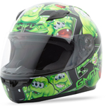 GMAX GM49Y Kids Full Face Street Helmet Attack (Black/Green)
