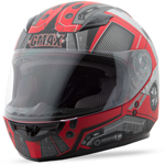 GMAX GM49Y Kids Full Face Street Helmet Trooper (Flat Red/Dark Silver)