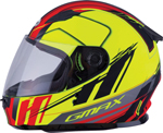 GMAX GM-49Y ROGUE Kids Full-Face Street Motorcycle Helmet (Matte Hi-Vis Yellow/Red)