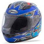 GMAX GM49Y Kids ALIEN Full-Face Motorcycle Helmet (Black/Blue)