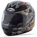 GMAX GM49Y Kids ALIEN Full-Face Motorcycle Helmet (Black/Silver)