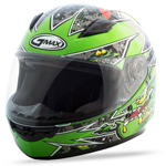 GMAX GM49Y Kids ALIEN Full-Face Motorcycle Helmet (Black/Green)