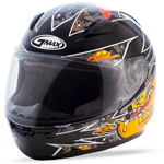 GMAX GM49Y Kids ALIEN Full-Face Motorcycle Helmet (Black/Orange)