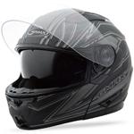 GMAX GM64 Modular Helmet Derk (Flat Black/Silver)