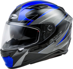GMAX FF-98 APEX Full-Face Street Motorcycle Helmet w/Drop-Down Sun Visor (Gloss Black/Blue)