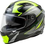 GMAX FF-98 APEX Full-Face Street Motorcycle Helmet w/Drop-Down Sun Visor (Gloss Black/Hi-Vis Yellow)