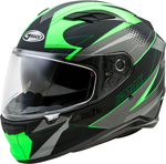 GMAX FF-98 APEX Full-Face Street Motorcycle Helmet w/Drop-Down Sun Visor (Matte Black/Hi-Vis Green)